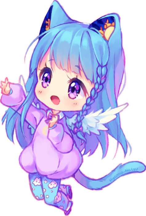 Kawaii Galaxy Neko Cat Sticker By П��fatima🍭