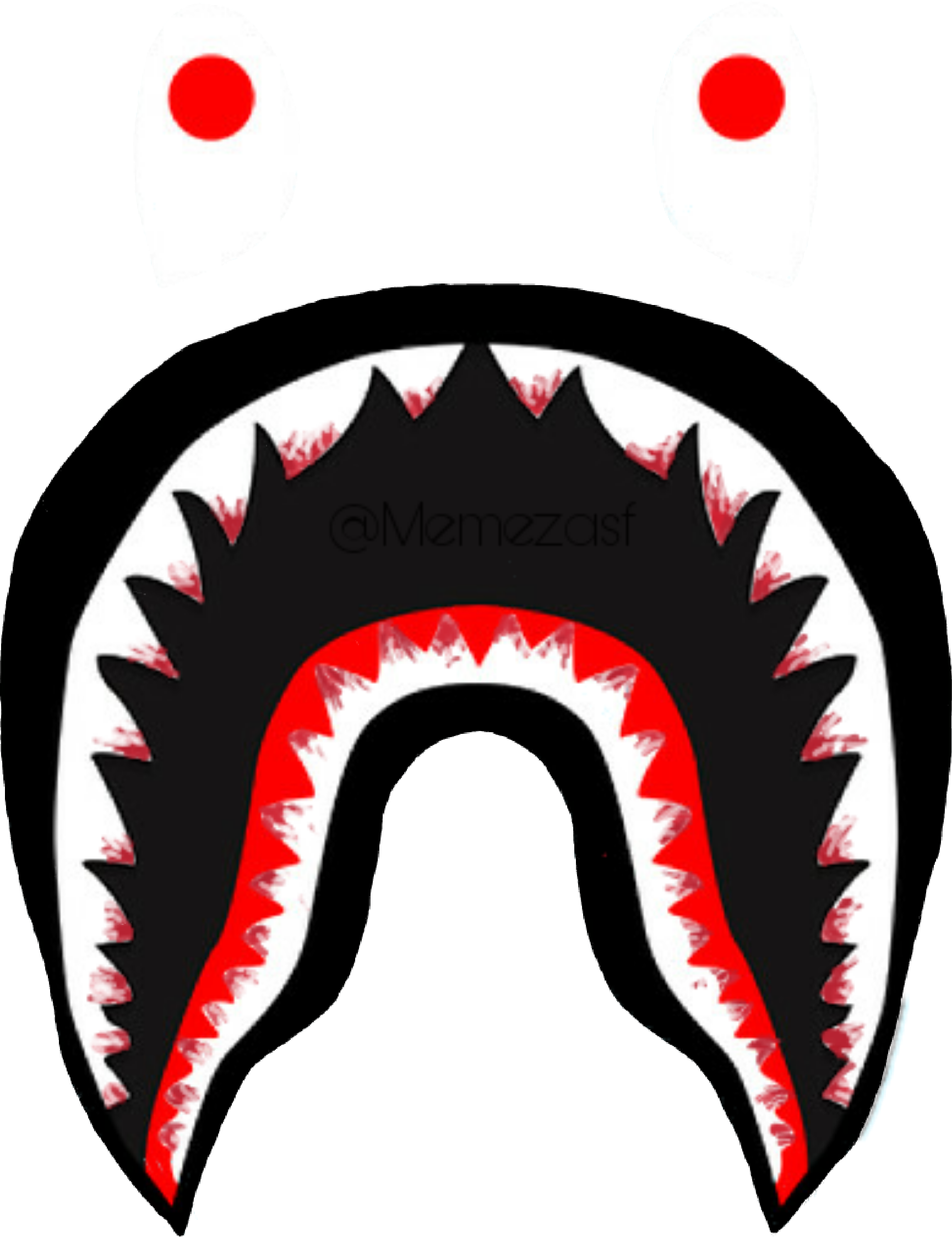 bloody bape logo teeth shark supreme bathingape memezas cute shark clip art black and white funny shark clipart