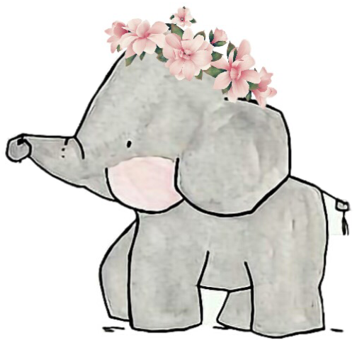 Elephant Family Cute Drawing Flowers Floral Remixit