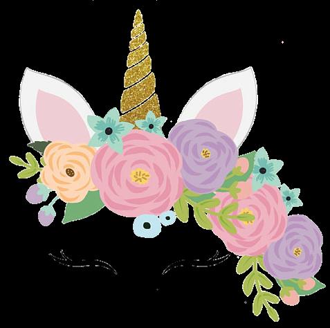 Unicorn Unicornio Cute Colorful Flowers Face Pastel