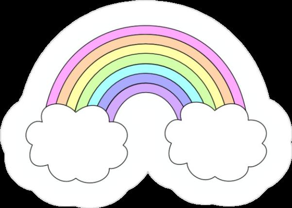rainbow aesthetic kawaii cloud tumblr sticker pink oran...