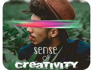 image of a boy with sense of creativity text on it