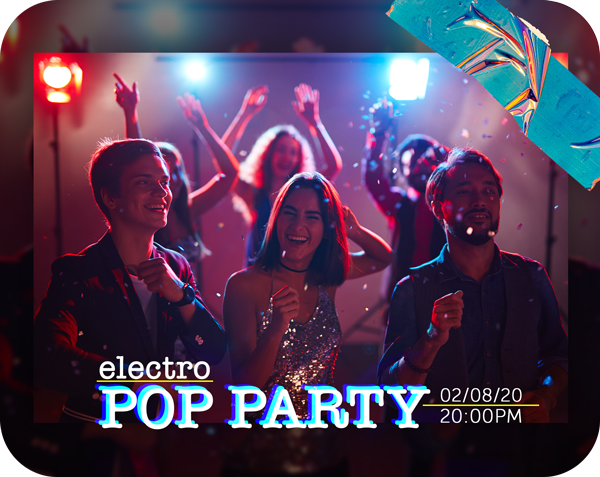 electro pop party flyer template