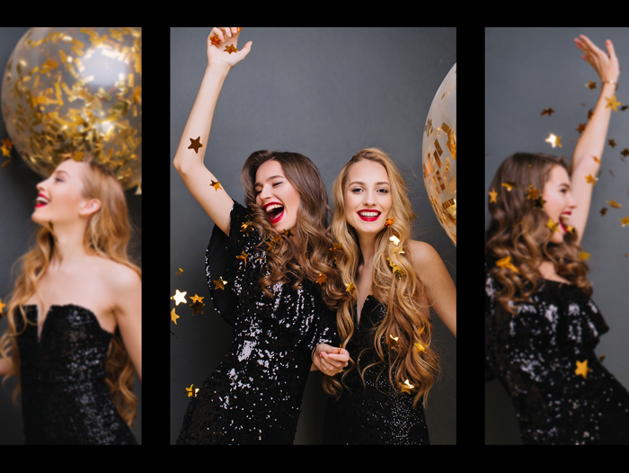 happy girls in festive dresses laughing