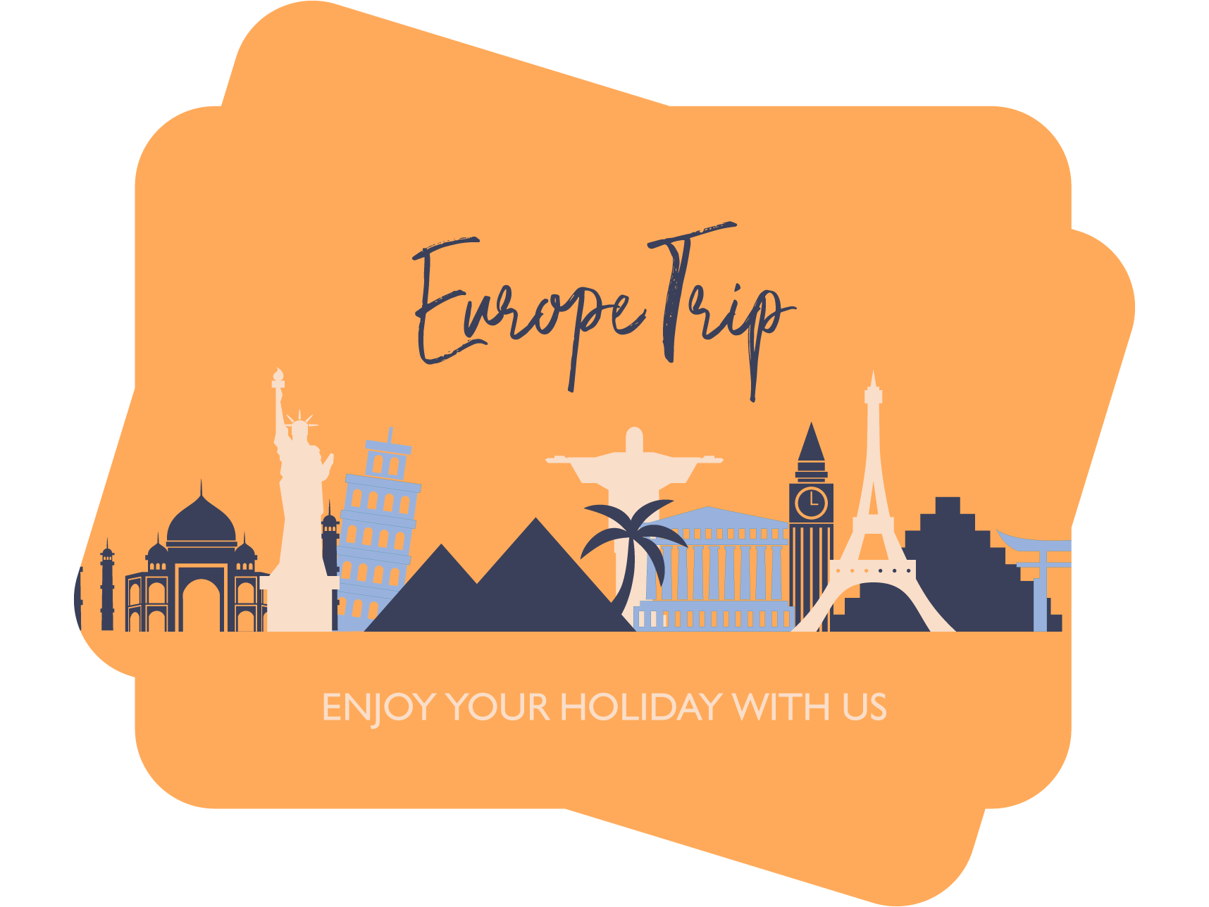 europe trip, enjoy your holidays with us tour agency card template