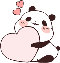 panda cute love heart kawaii