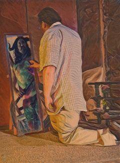 mirror reflection fantasy man
