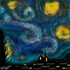 wdpvangoghsky finger beautiful midnight emotions colorful wdpvangoghsky