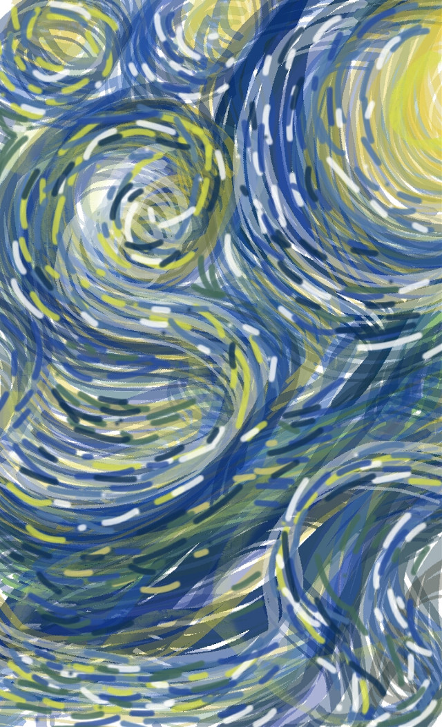 #vangogh #vangoghsky #vangoghinspired #starrynightsky #swirls #blueandyellowpalette #blue #yellow #padrawingtool #drawnbyme #drawn #impressionist #brokenlines