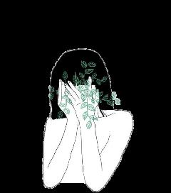 чб девушка листочки freetoedit