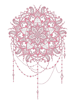 pink salmon mandala tattoo design