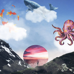 freetoedit surrealistgate clouds fish octapus