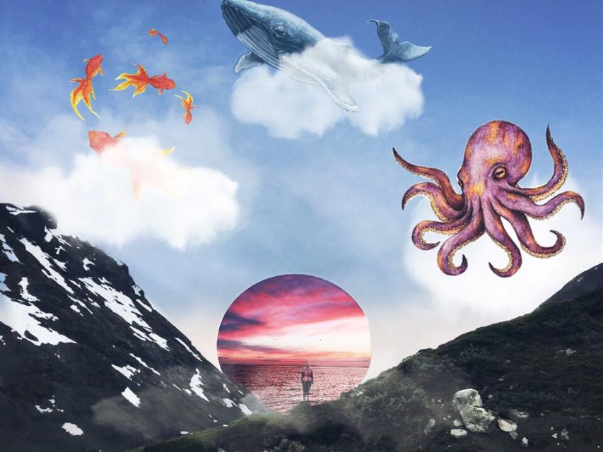 #FreeToEdit #surrealistgate #clouds #fish #octapus #whale #fog #sky #mountains #person #dodgereffect #dramaeffect #stickers #madewithpicsart #picsart #picsarttools #shapecrop #art