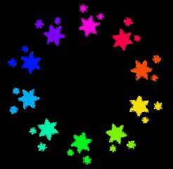 rainbow stars circle freetoedit