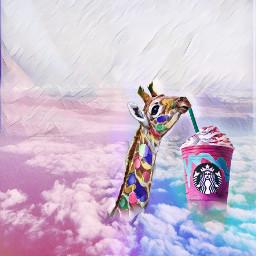 skyremix giraffe unicornfrappucino unicornfrappucinostickerremix freetoedit