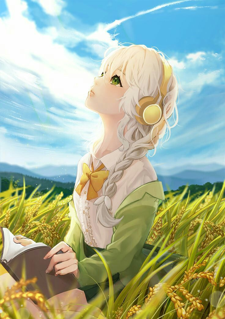 Anime Girl Summer Book Musik Cute Colorful Emotions