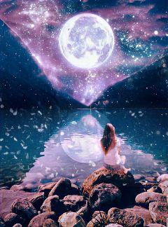 moonligh lake mauntains moon night freetoedit