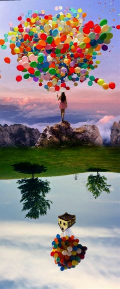 freetoedit upsidedown baloons girl sky