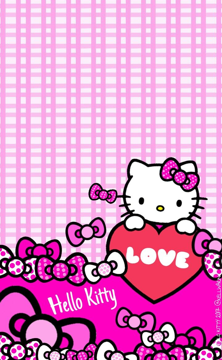 wallpaper hello kitty bows pink 2017