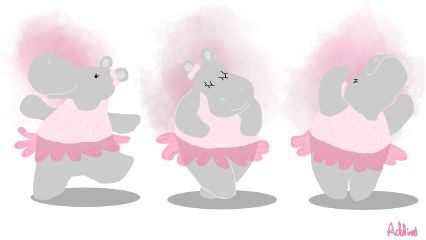 wdpdancinghippos pink drawnwithpicsart mydraw hippo