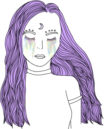 Girl Draw Outline Drawing Tumblr Pastel Purple Lilla