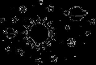 galaxy doodles planets stars sun