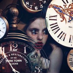 freetoedit interesting clock girl wondering