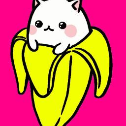 kawaii cat banana cute drawing wdpfruitveggiecharacters freetoedit