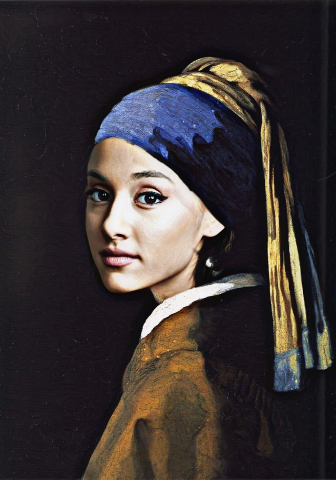 ✘ Girl with the pearl earring — Johannes Vermeer (1632 - 1675) Feat Ariana Grande. ✘ @freetoedit #smashups #smashup #arianagrande #girlwiththepearlearring