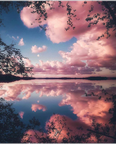 pink clouds nature colorful water