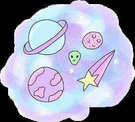 sky alien planets pink blue