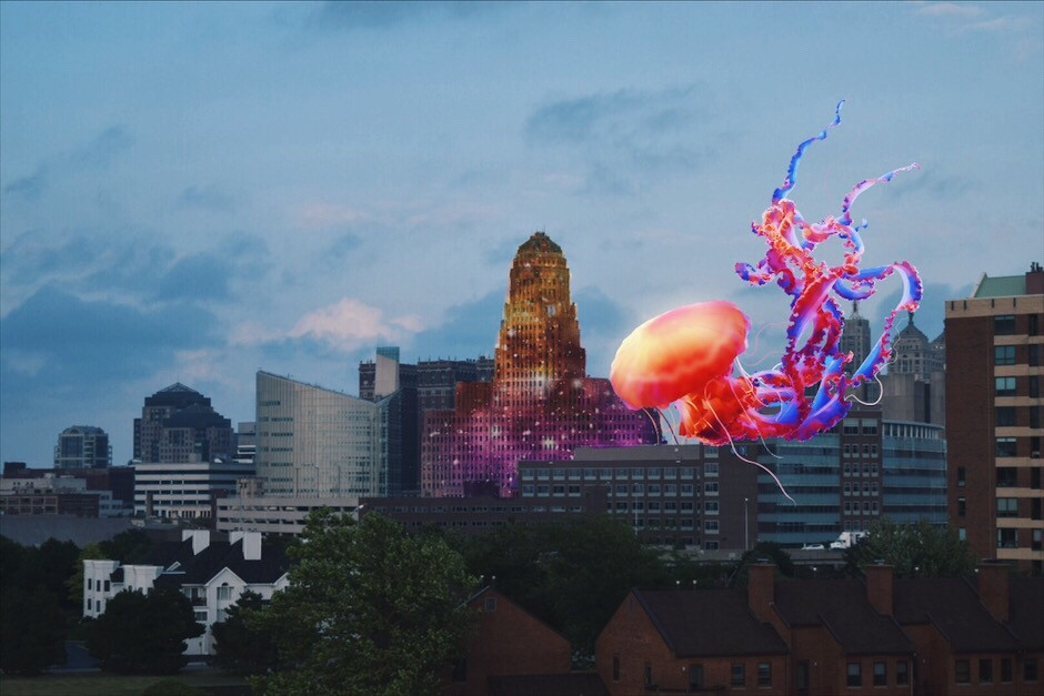 #freetoedit #city #buildings #jellyfish #giantanimals #sparkles #surreal #clouds #sky #photography #madewithpicsart #stickers #picsart