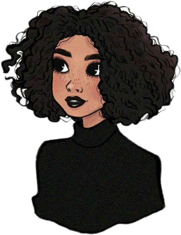 girl  draw  black  curlyhair Sticker by Anita
