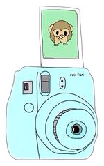 emoji monkey camera blue green