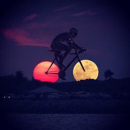 bike biker bicycle bicycleride moon