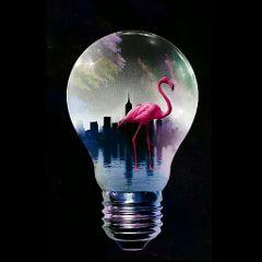 pinkflamingo surreal surreality cityscape lamps