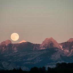 FreeToEdit mountains alps moon nature rocks landscape sunset trees light
