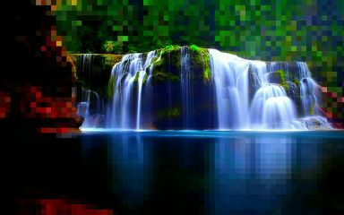 pixelate waterfall colorful nature photography