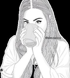 tumblrgirl tumblr girl blackandwhite coffee