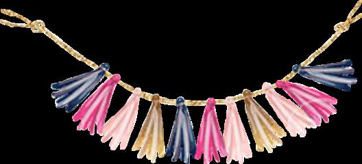 tassels banner blue pink gold freetoedit