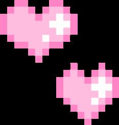 pink kawaii heart hearts pixel