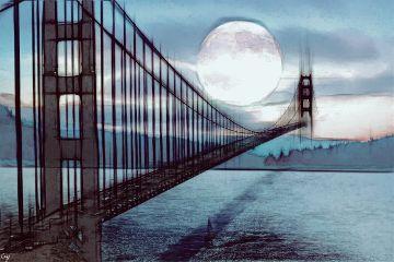 freetoedit bridge moon blackandwhite pencilart