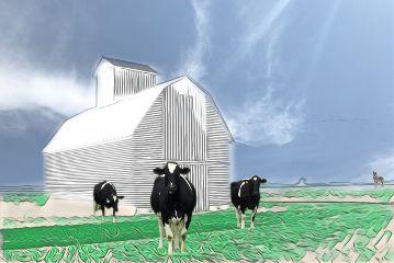freetoedit barn pencilart clouds farm