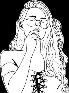 girl sticker hair glasses tumblr