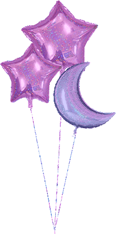 purple sparkle moon star balloon