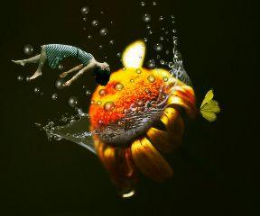levitate levitation girl yellowflower yellowbutterfly freetoedit