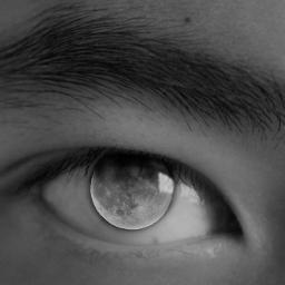 freetoedit eye moon blackandwhite colorsplash