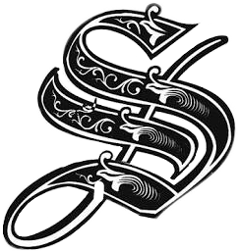 s alphabet blackandwhite caligraphyfont tattoo