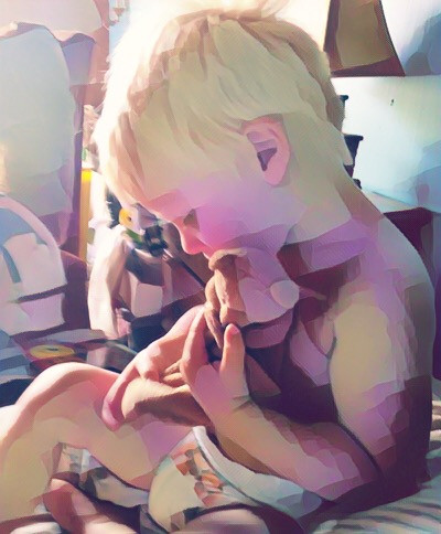 "Covin loves his little teddy bear, ""ben"""