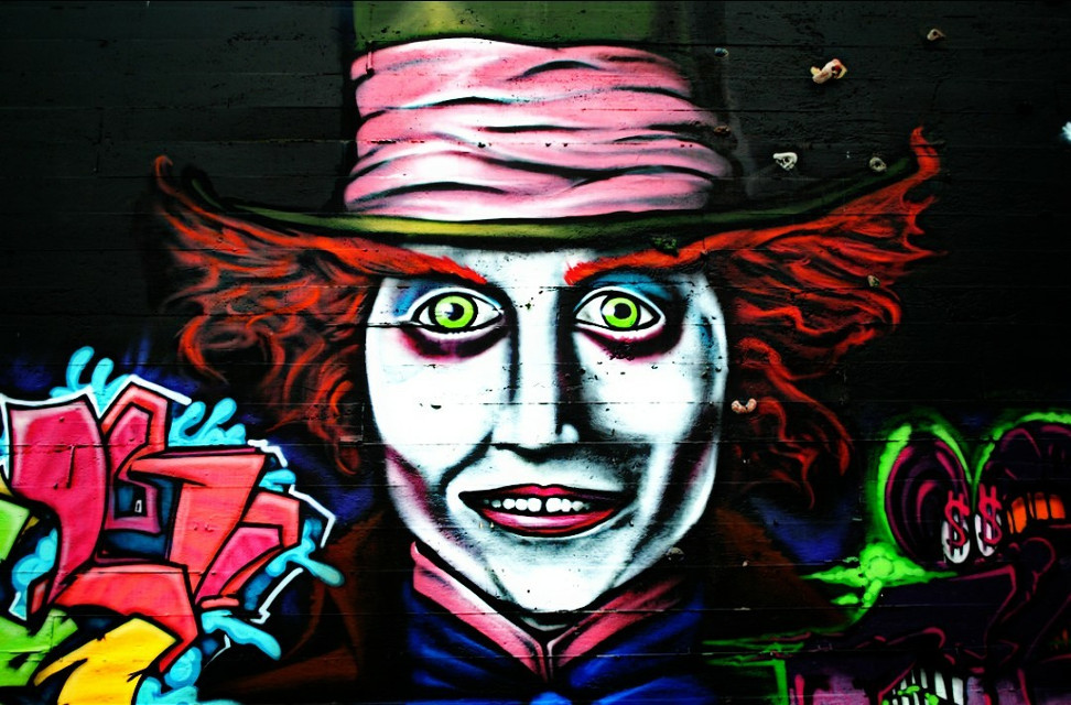 Have I gone mad? I'm afraid so. You're entirely bonkers. But I'll tell you a secret. All the best people are. #madhatter #graffiti #streetart #streetartphotography #tacoma #washington
